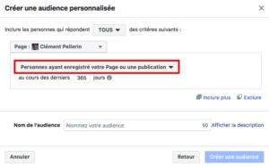 capture d'écran options de ciblage Facebook