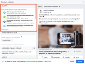 capture d'écran options d'acquisition Facebook