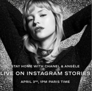 publicité chanel avec angèle pour live instagram