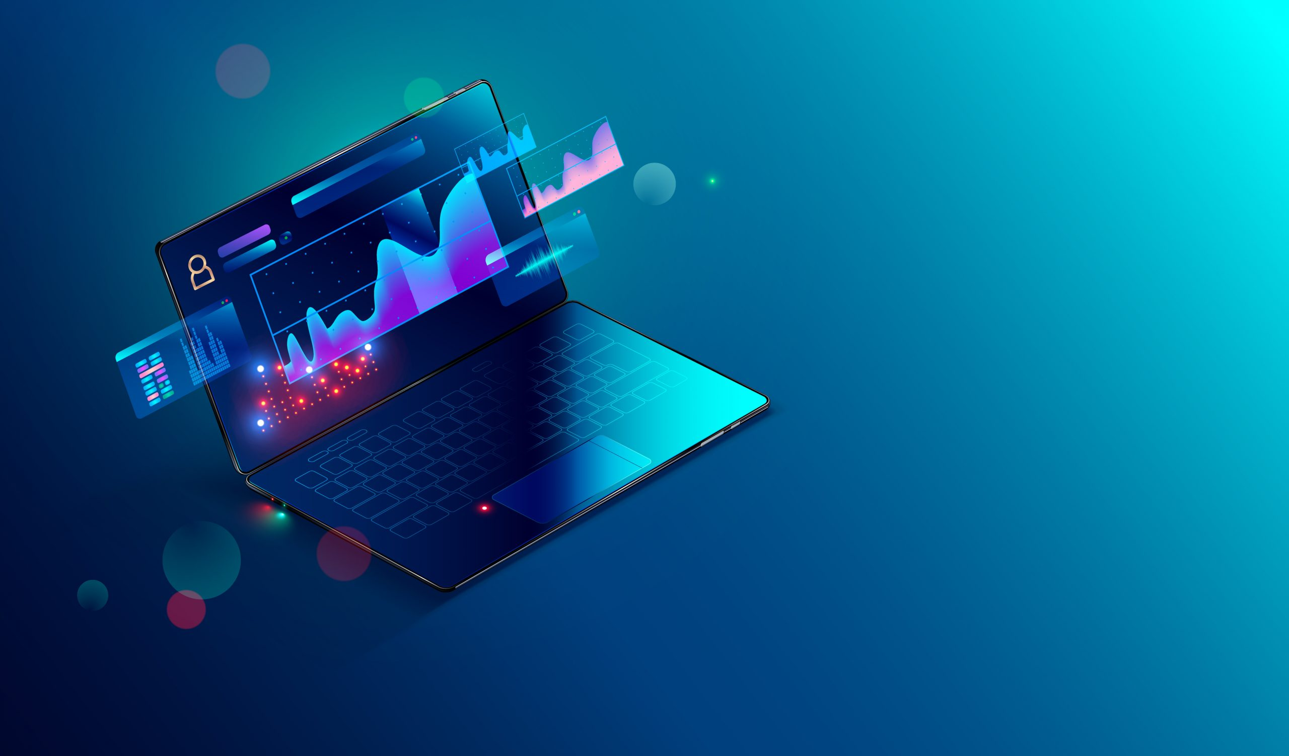illustration ordinateur et statistiques