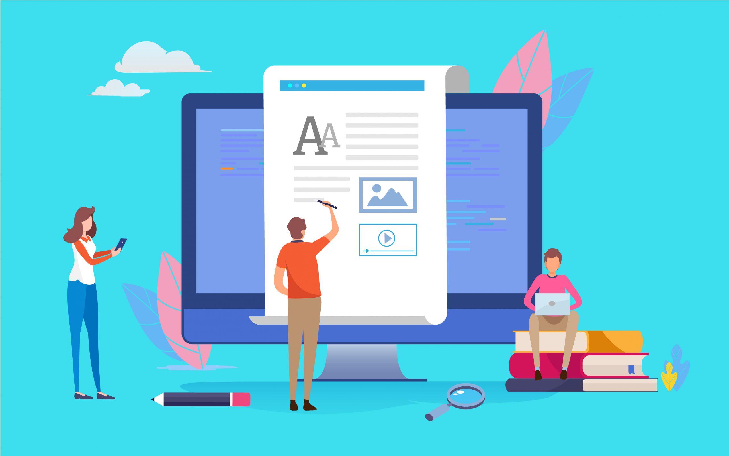illustration ordinateur et article