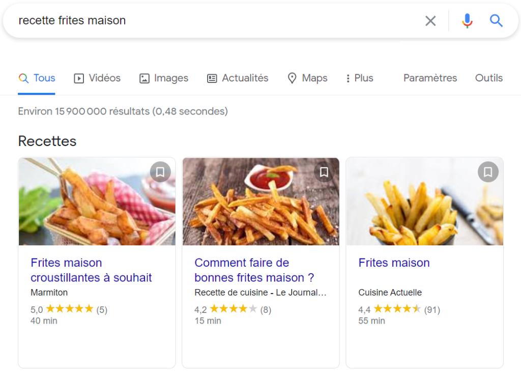Fiches recettes sur Google