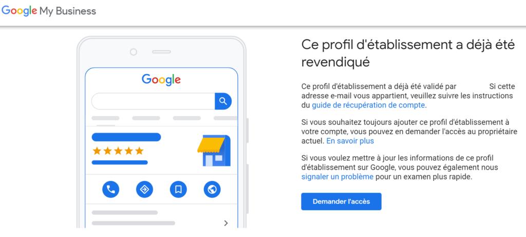 fiche google my business revendiquée