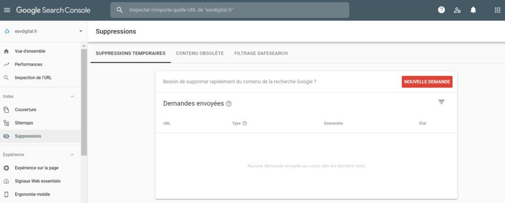 Outil de suppression Google